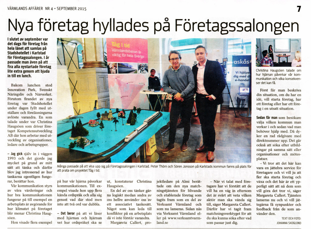 Företagssalongen Värmlands Affärer sep 2015